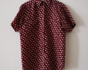 Vintage Short Sleeve Shirt Elephant Pattern Uni Sex