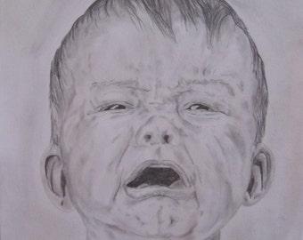 dessin original crayon bebe qui pleure crying baby portrait fine art A3