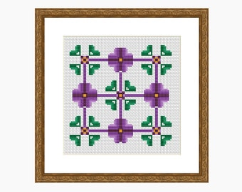 Cross Stitch Pattern, Modern cross stitch - DECONSTRUCTED PANSIES cross stitch chart, downloadable PDF