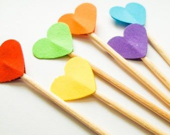 24 Rainbow Mini Heart Toppers