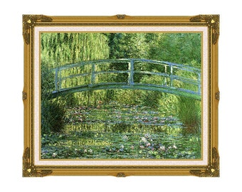 Water Lily Pond Harmony in Green Claude Monet Framed Wall Art Print on Canvas Painting Reproduction Giclee - Sizes Small to Large - M00501-2