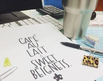 Café au Lait & sweet beignets new orleans