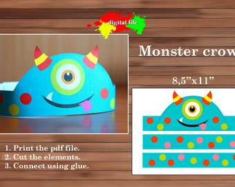 Monster Paper Crown, Paper Crown, PDF, Instant Download