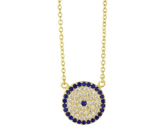 Evil Eye Necklace  Sterling Silver Evil Round Necklace  Cubic Zirconia CZ