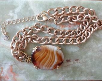 Vintage Glass Agate Necklace, Agate Pendant Necklace, Gold Chain Necklace, Agate Pendant