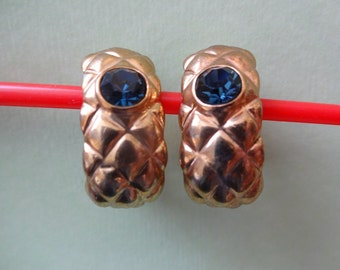 Vintage Gold and Blue Clip on Earrings, 1980s gold clip on earrings, Gold & Blue Earrings,