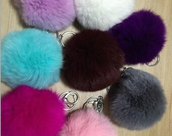 Pom pom keychains -Genuine Furry key chains -fluffy bag charms-Custom Color fur ball keyring-metal hardware teal, lavender,burgundy