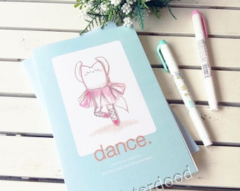 CUSTOM TEXT Journal, Misterdood Dance Notebook, Ballet Motivational Dreams Passion Quote, Cute Handdrawn Fox Cat Animal Dancing, Teens Diary