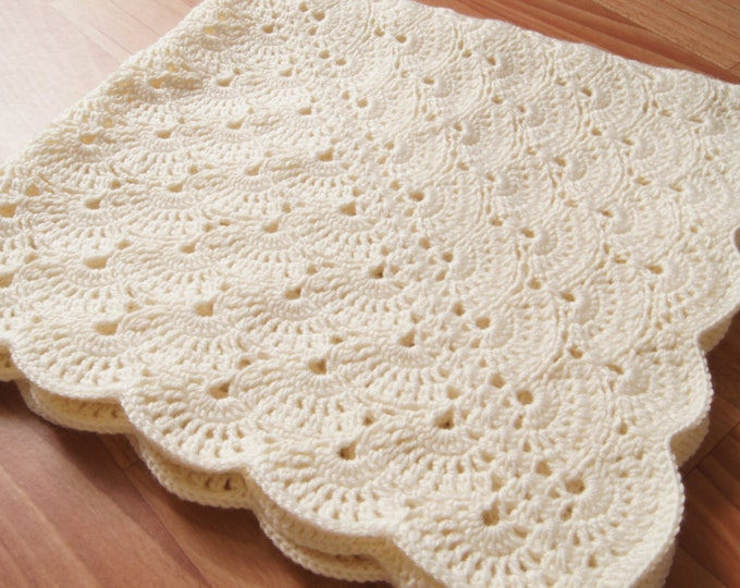Crochet Baby Blanket, Milky White Baby Blanket, travel stroller size, Car seat Blanket, Crib Blanket, Shabby Chic