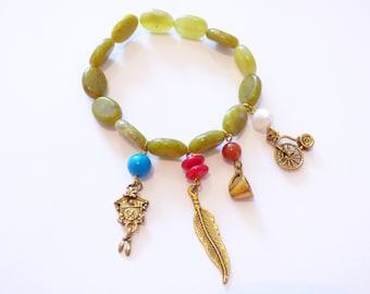 Serpentine 4 bracelet charms PU033