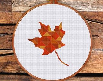 Geometric Maple Leaf cross stitch chart| Modern Canada love symbol counted cross stitch pattern|  Nature autumn winter cross stitch pattern
