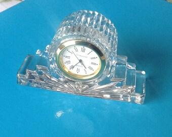 Vintage Crystal Clock/Small Crystal Dresser Clock/ Lead Crystal/ Boudoir Decor - 1980's