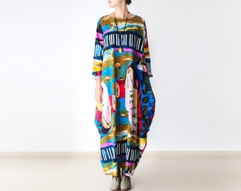 Womens Retro Loose Fitting Abstract Printed Floral Cotton Linen Long Sleeve Dresses With Pockets, Womens Summer Cotton Linen Casual Robe