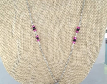 Pink and Black Flower Power necklace and earrings