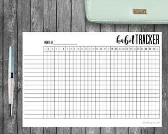Printable Habit Tracker, A5 Bullet Journal or Planners, Filofax, Kikki K, Black & White, Calligraphy, Print at Home PDF, Daily Habit