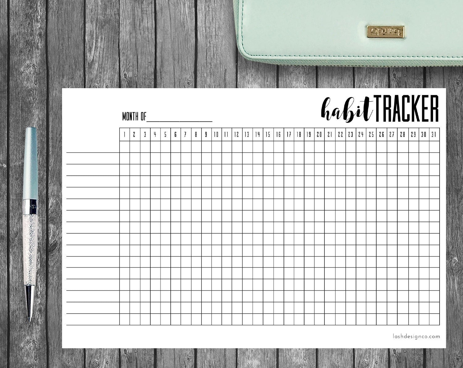 Playful image in bullet journal habit tracker printable