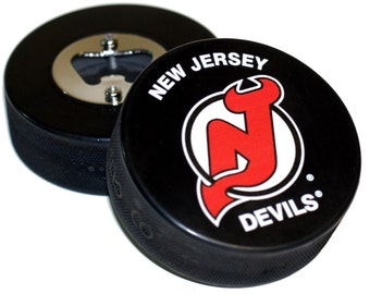 New Jersey Devils NHL Hockey Puck Bottle Opener
