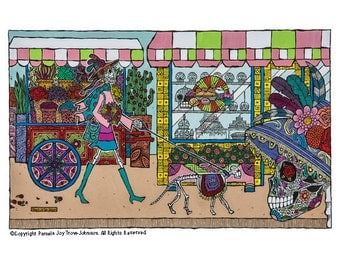 Art Print Shopping Day of the Dead Sugar Skull The Walk–El Paseo Dog 12 x 16 Retail Therapy