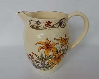 Vintage Floral Jug, Good Condition,Retro,Boho, Very Pretty and Elegant. Flower Vase