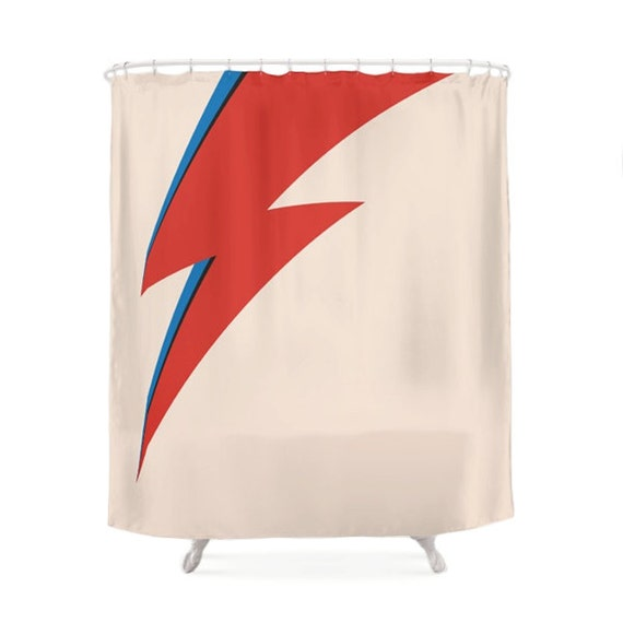 David Bowie Shower Curtain Red And Blue Ray By LaChicHomeDecor