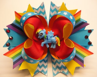 "My Little Pony/Rainbow Dash Handmade Boutique Stacked Hair Bow 5.0"" x 4.5"""