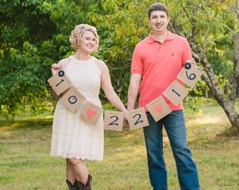 Burlap Wedding Banner - Burlap Date Banner - Rustic Wedding Decor- Save The Date Announcement - Rustic Wedding Banner - Country Wedding