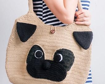 crochet bag pattern : Pug Bag Size L