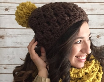 Oversized Ollie Scarf & Hat Pattern Set , Easy Crochet Infinity Scarf Pattern, Crochet Pattern in PDF for The Open Stitch Infinity Scarf