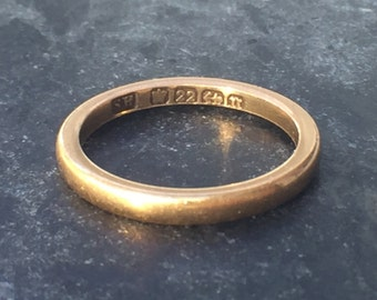 Antique Victoria 22ct Gold Wedding Band Stacking Ring