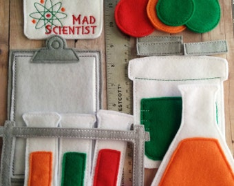 Science Play Set, 16 Pieces, Embroidered Acrylic Felt and Vinyl, Microscope, Test Tubes, Beakers, Molecules, ID Card, Clipboard, USA Made