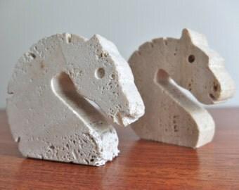 Vintage Italian Travertine Marble Horses - Mannelli Animal sculpture 1970s mid century modern era