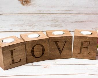 Kerze-Halter Holz Liebe süße Tabelle Zeichen Decor Hochzeit Kerzen Halter aus Holz Halter Geschenk für die Frau nach Hause Herr Dekoration Liebe