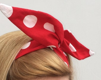 Wired hairband - Red white polka dot 50's  rockabilly rockabella Rosie Riveter headband gothic retro spot minnie mouse dolly bow psychobilly