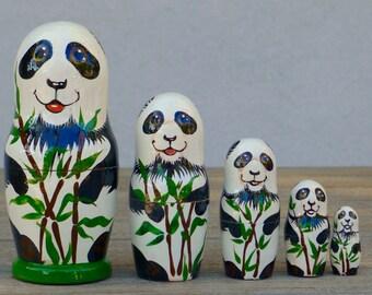 Nesting dolls (5 pcs) - Matryoshka - Russian nesting doll - Babushka dolls - Stacking dolls - Painted Nesting dolls -Russian dolls - Panda