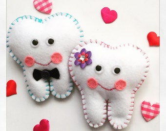 Boy and girl Tooth fairy pillows hand embroidered with initial on back pocket