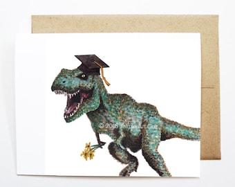 Graduation Card - Dinosaur, Grad Card, College Graduation, High School Grad, Congrats Grad, Congrats Card, Cute Animal Card, Dinosaur Card
