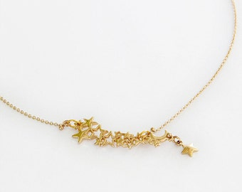 "Necklace Neckband Collier ""Galaxy"" gold finish stars"