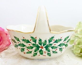 Lenox Holiday Archive Basket - Christmas Holiday Fine China, Lenox Basket, Christmas Basket, Holiday Decorative Basket