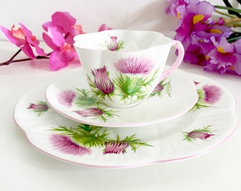 "Shelley Dainty ""Thistle"" Trio: Vintage Trio, English Teacup Trio, Tea Party Trio, Tea Party Teacup"