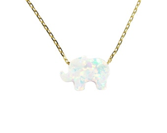 Opal Elephant Pendant Necklace Charm 925 Sterling Silver Gold Plated Chain