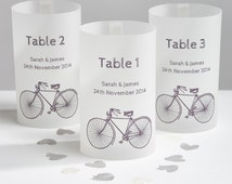 Cyclist wedding table number luminary lanterns-London to Brighton bike ride celebration-table lantern decorations for cycling lovers