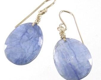 Kyanite Gemstone Dangle Earrings, Sterling Silver