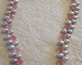 Pink Pearl and Rose Crystal Briolette Necklace with Sterling Silver Clasp