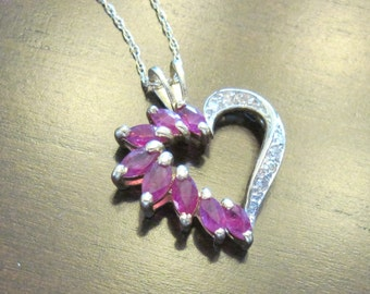 Ruby and Diamond Heart Necklace 14 KT Gold