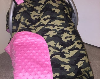 Pink Camo Car Seat Canopy - Personalization is Available