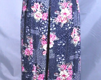 1980's All That Jazz Jumpsuit/Romper Navy Blue with Flowers Size Small