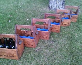 Groomsmen Gift set of 10 Beer Carriers, Beer Caddy with rustic opener, and free personalization