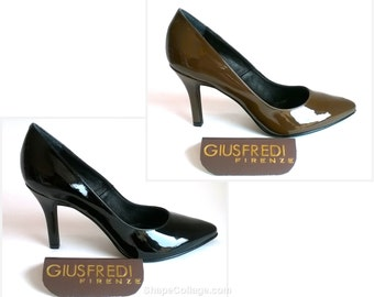 8 heel patent leather pumps décolleté-black or BROWN