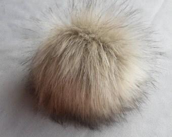 Size XL (beige) faux fur pom pom 7 inches /17 cm
