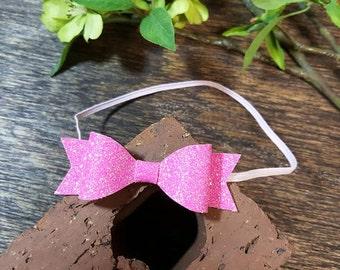 Glitter Pink Bow Headband,  Beautiful Toddler Headband, New Born Headband, Girl Hair Accessories, Pink Hair Clip, Any Outfit